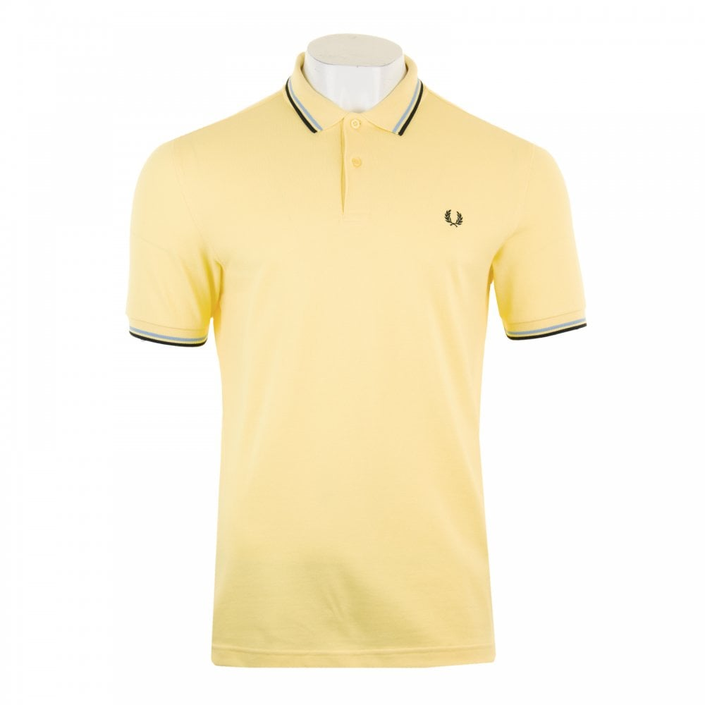 fcdc7333e Fred Perry Mens Twin Tipped Collar Polo Shirt (Yellow) - Mens from ...