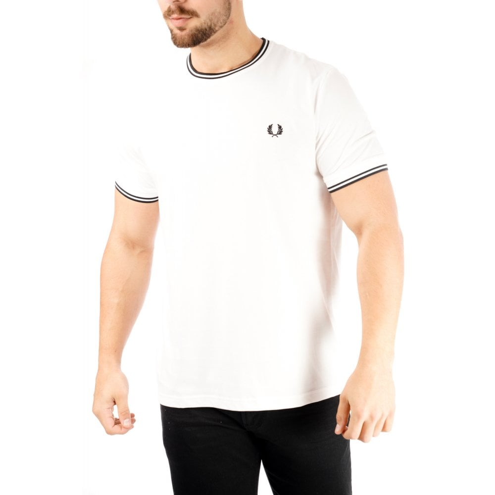 Fred perry mens twin tipped t shirt white mens from for Fred perry mens shirts sale