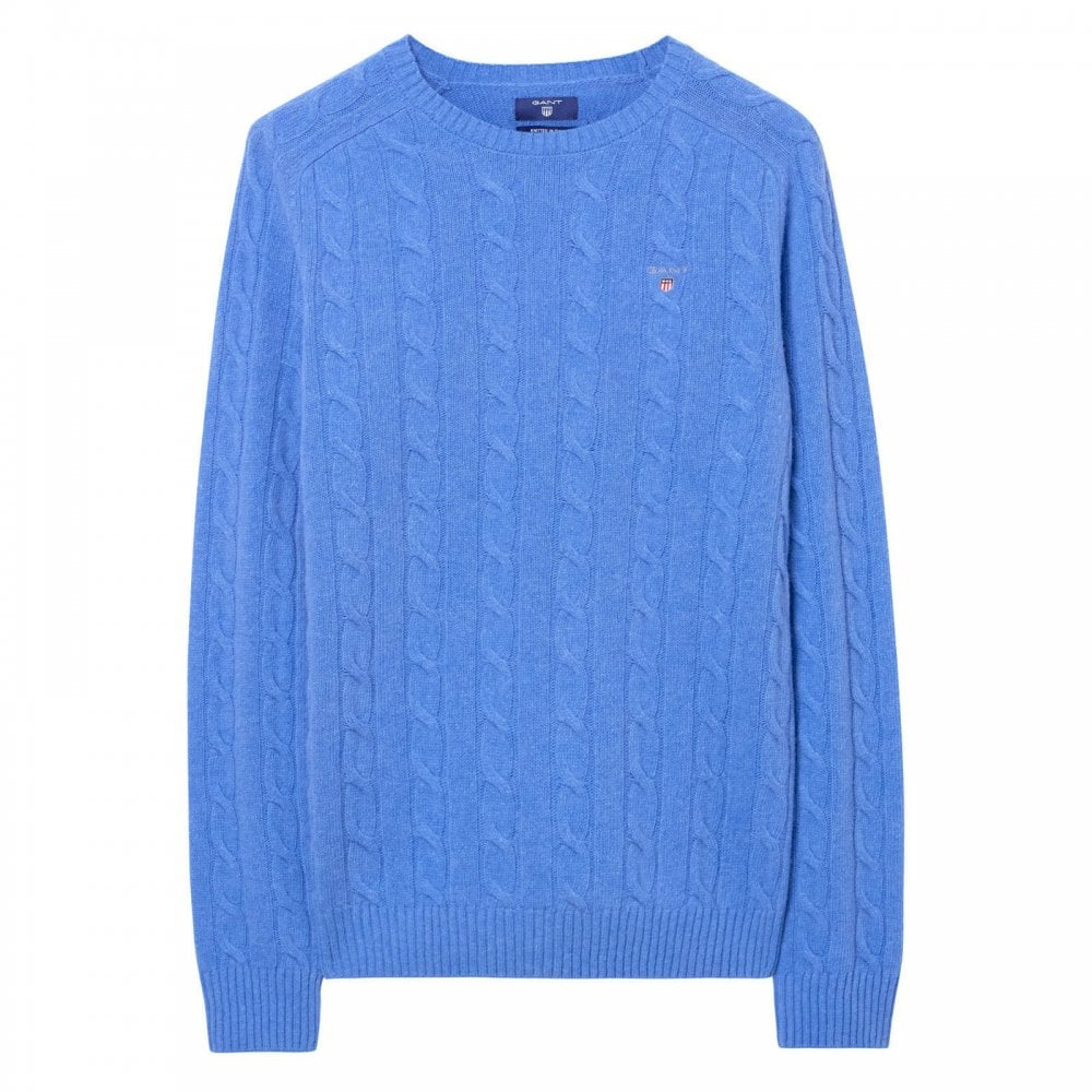 2bc51f4f GANT Gant Mens 03 Lambswool Cable Crew Neck Knit Sweater (Blue ...