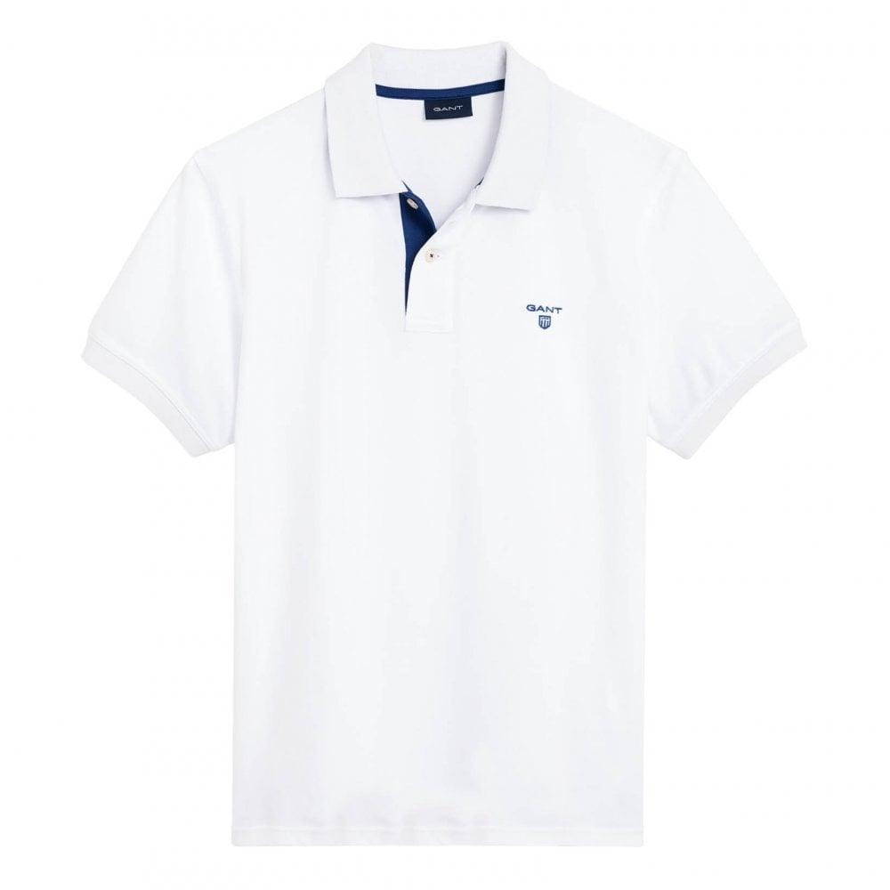 8766bc601a2fb2 GANT Gant Mens Contrast Collar Pique Short Sleeve Polo Shirt (White ...