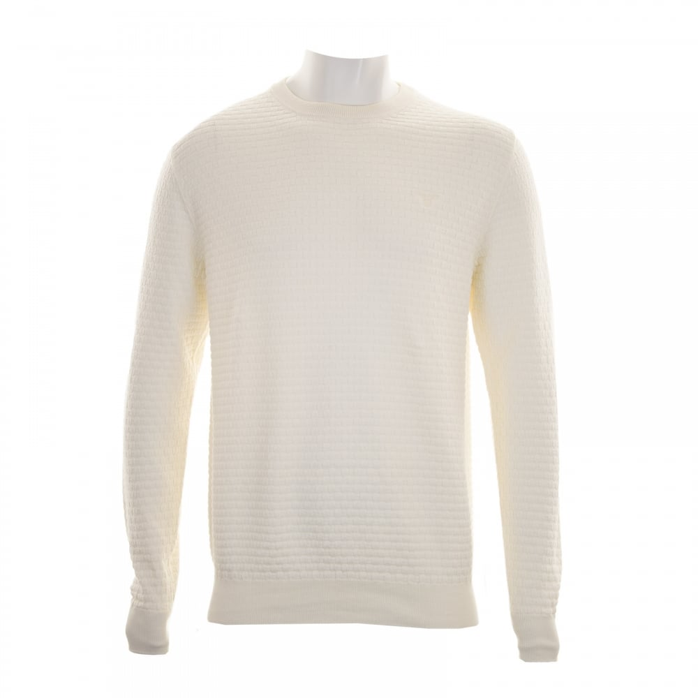 low priced top-rated latest top brands Mens Cotton Texture Crew Knit Sweater (Cream)