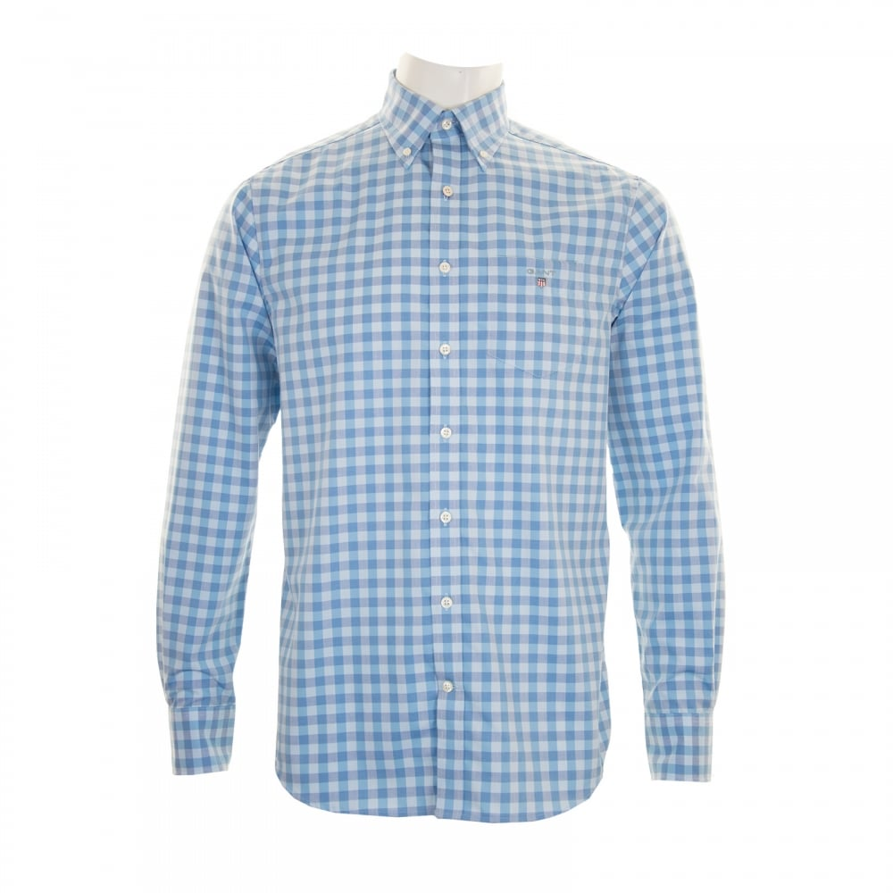 Gant mens easy care gingham check shirt blue mens from for Mens blue gingham shirt