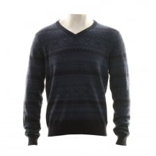 Gant Mens Jacquard V Neck Knitted Sweater (Navy)