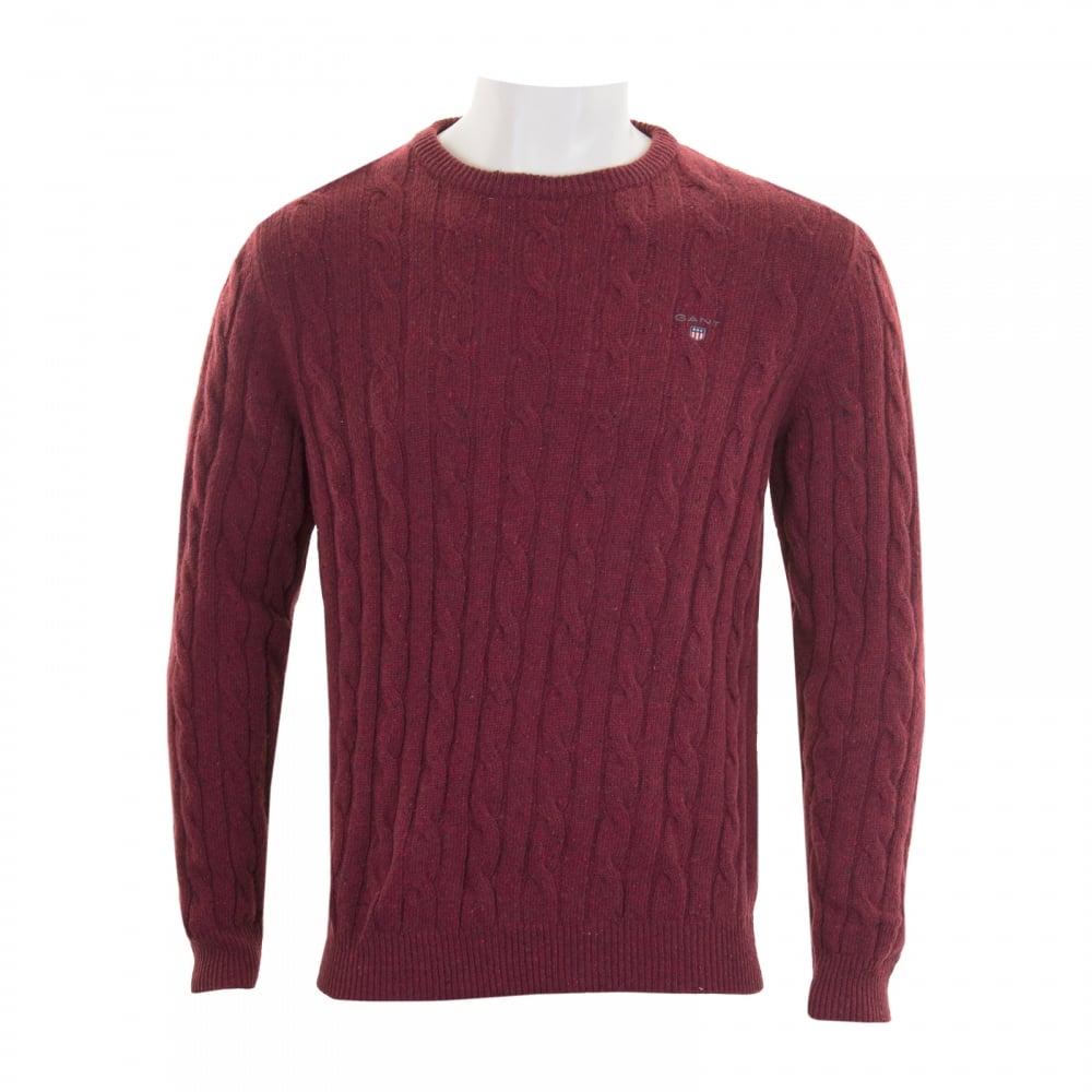 GANT Gant Mens Lambswool Cable Crew Knit Sweater (Burgundy) - Mens ...