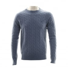 Gant Mens Lambswool Cable Crew Neck Knitted Sweater (Blue)