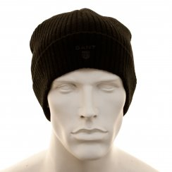 Gant Mens Lambswool Knitted Beanie (Black)