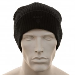 Gant Mens Lambswool Knitted Beanie (Navy Blue)