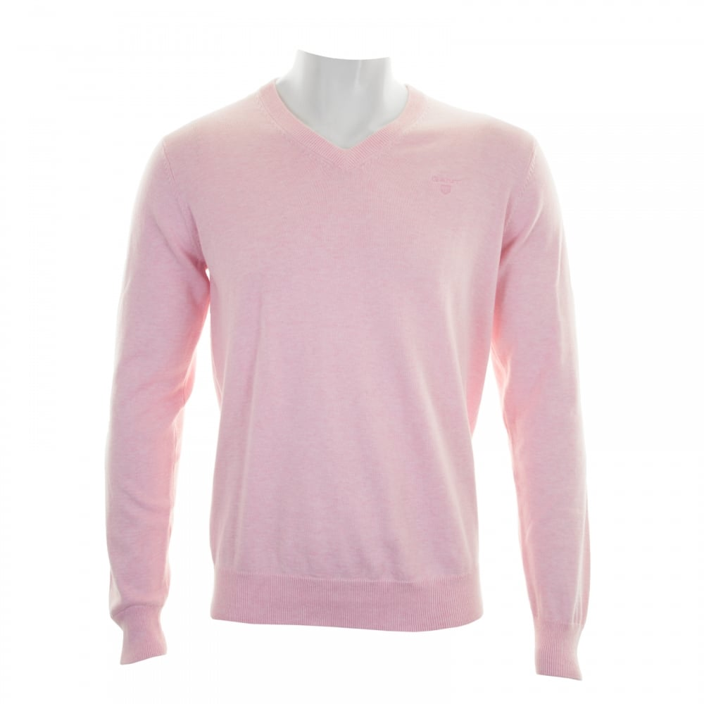 GANT Gant Mens Light Weight Cotton V Neck Knit Sweater (Light Pink ...