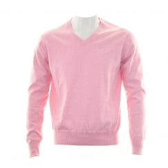 GANT Mens Lightweight Cotton V-Neck Jumper (Pink)