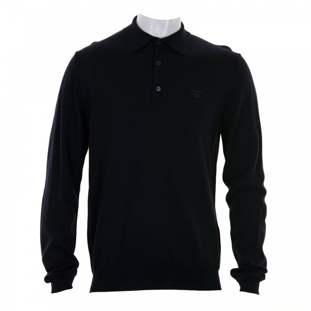 Gant gant mens merino wool long sleeve polo shirt navy for Merino wool shirt long sleeve