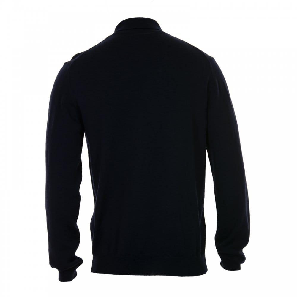 Gant gant mens merino wool long sleeve polo shirt navy for Long sleeve wool polo shirts