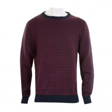 Gant Mens Nordic Pattern Crew Knit Sweater (Navy/Red)