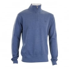 Gant Mens Sacker Rib Half Zip Neck Knitted Sweater (Denim)