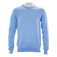 Gant Mens Stretch Cotton Crew Neck Knitted Sweater (Sky Blue)