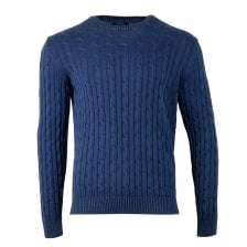 Gant Mens Sun-bleached Cable Crew Knit Sweater (Navy)