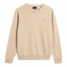 Gant Mens Super Fine Lambswool Crew Neck Knit Sweater (Sand)