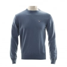 Gant Mens Super Fine Lambswool Crew Neck Knitted Sweater (Blue)