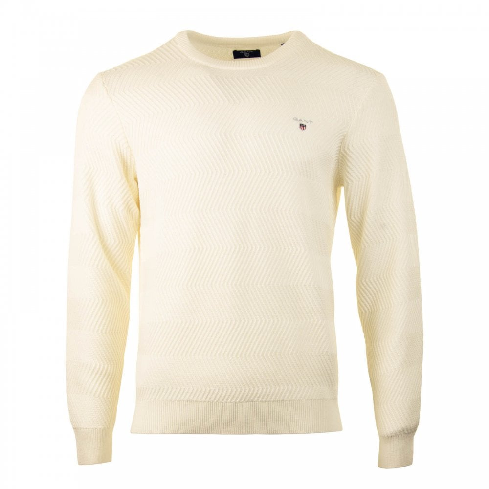 GANT Gant Mens Wave Texture Crew Knit Sweater (Cream) - Mens from ... 3bfaf8fd2d8a
