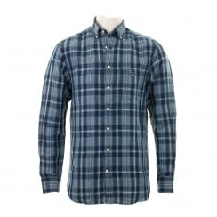 GANT Mens Yc Linen Check Shirt (Persian Blue)