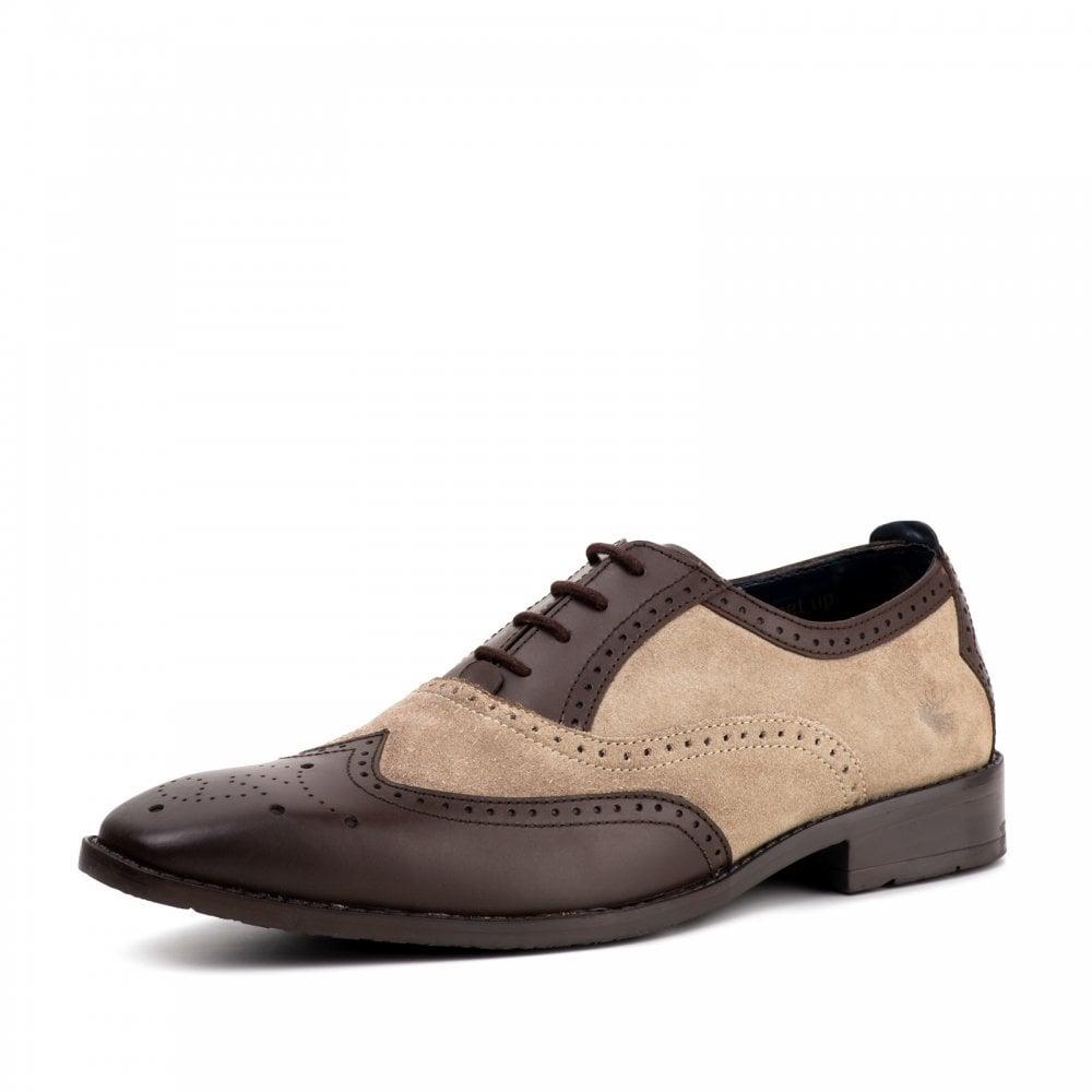 6ee2ae0f16e Mens Jason Two Tone Oxford Brogue Shoes (Brown / Stone)
