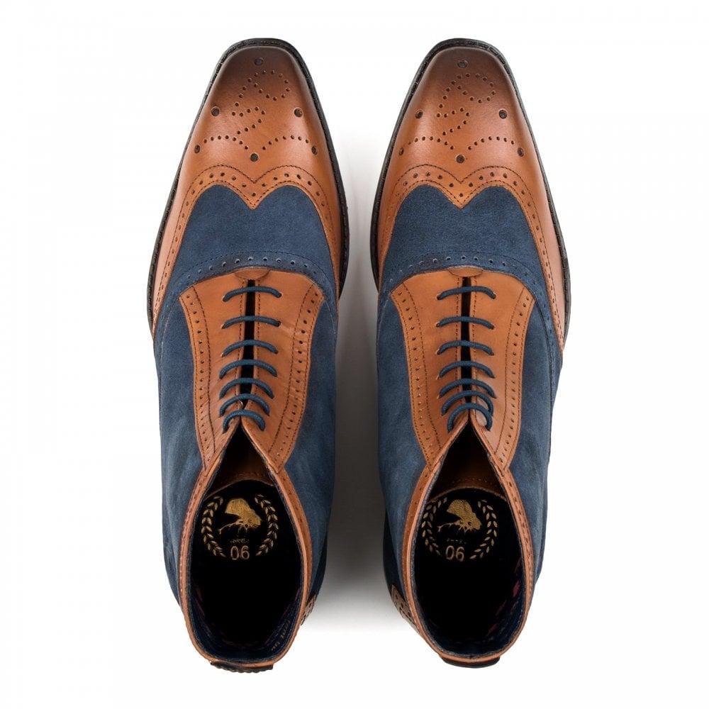 4e6a9a85556 Goodwin Smith Goodwin Smith Mens Samuel Brogue Ankle Boots (Tan / Navy)