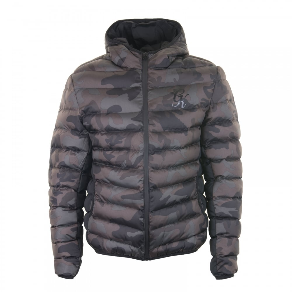 Gym King Gym King Mens Camo Puffer Jacket Black Mens