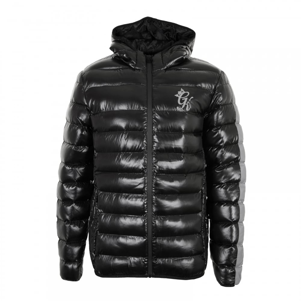 Girls black puffa jacket-4390