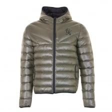 Gym King Mens Reign Hooded Puffa Jacket (Olive)
