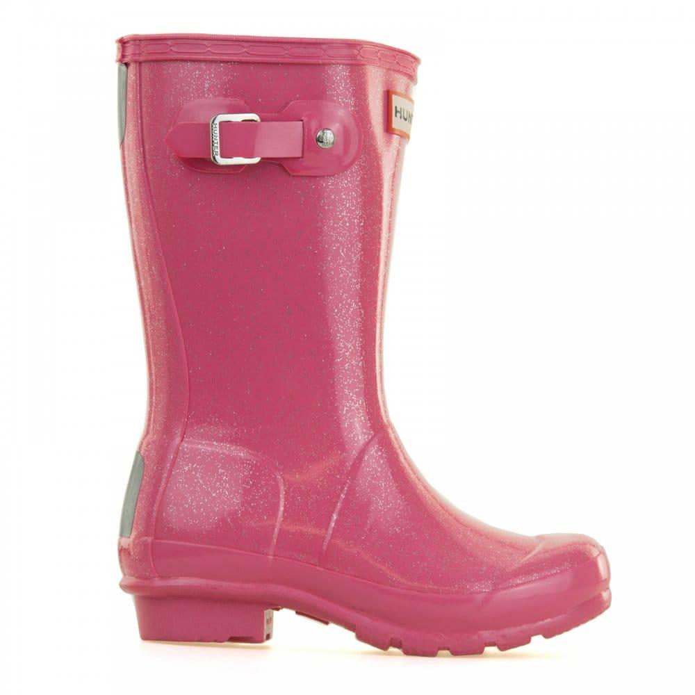 Hunter Hunter Juniors Original Glitter Wellington Boots Pink