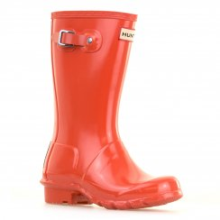 Hunter Juniors Original Gloss Wellington Boots (Orange)