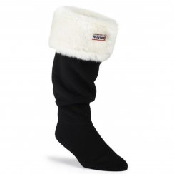 Hunter Womens Furry Wellington Boot Socks (White)