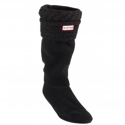 Hunter Womens Moss Cable Cuff Wellington Boot Socks (Black)