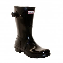 Hunter Womens Original Short Glossy Wellington Boots (Black)
