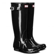 Hunter Womens Original Tall Gloss Wellington (Black)