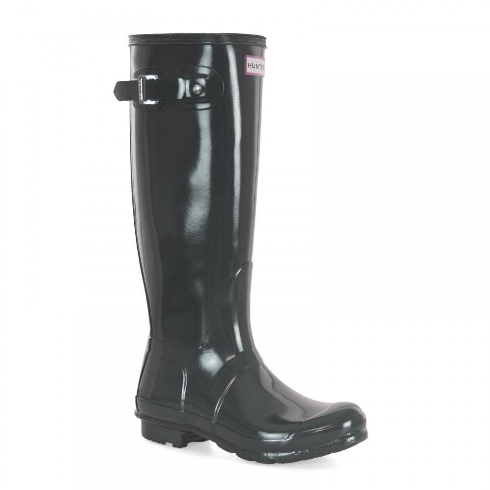 Hunter Womens Original Tall Gloss Wellington Boots (Slate) - Womens ... dd70530da3