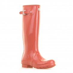 Hunter Womens Originals Tall Gloss Wellington Boots (Orange)