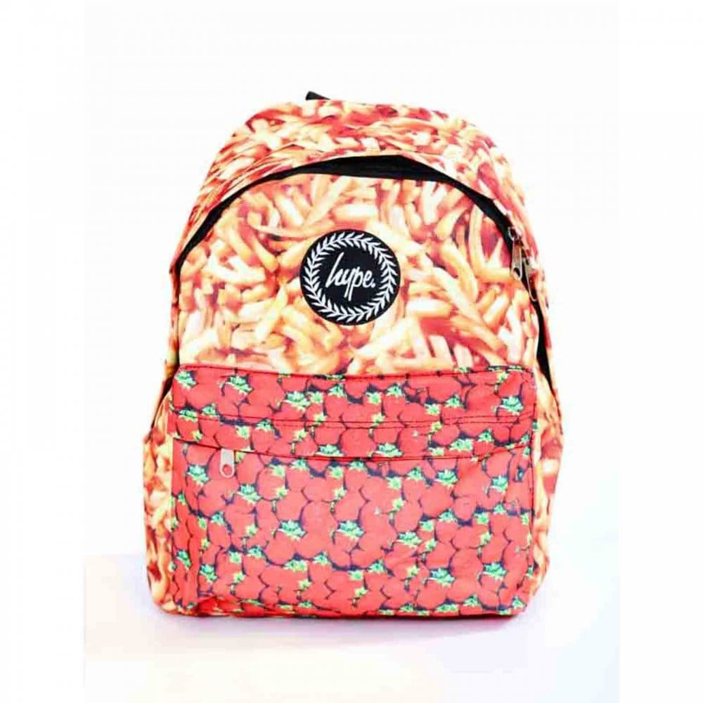 Chips and strawberries backpack yellow red hype from loofes uk