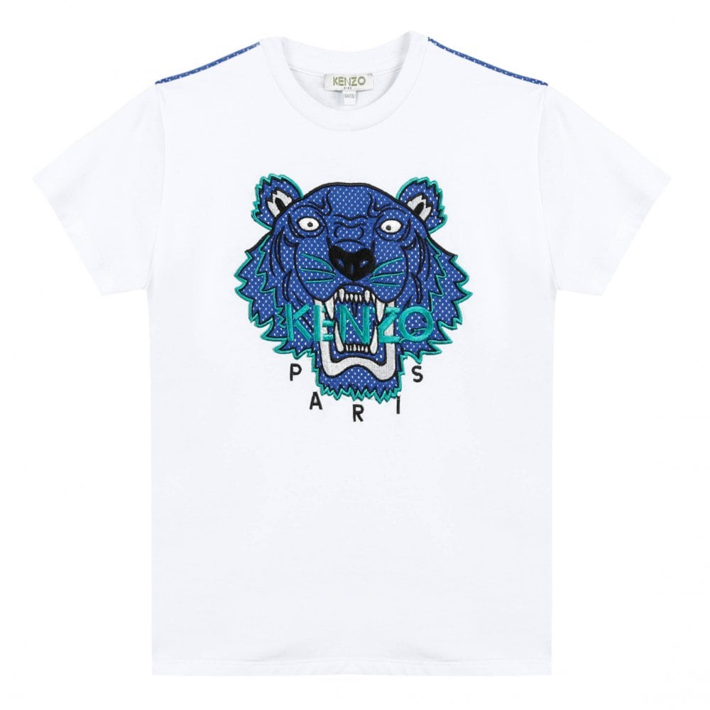 4164230b Kenzo Juniors JB 4 Tiger Face Print T-Shirt (White) - Kids from ...