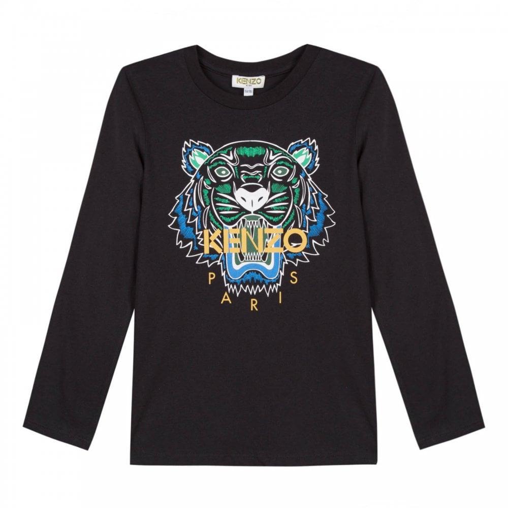 d5b9a71a Kenzo Juniors Tiger Face Print JB 2 T-Shirt (Black) - Kids from ...