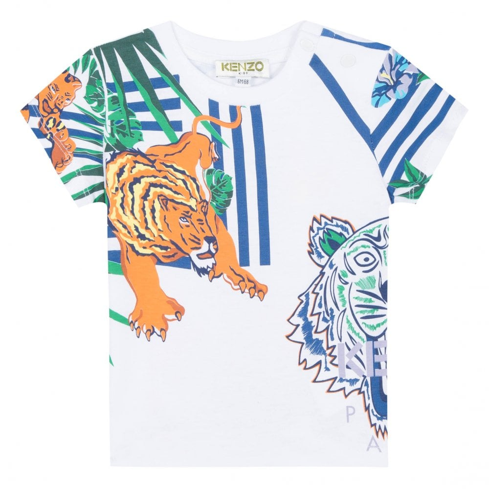 f0de75c9 Kenzo Kids Infants BB Faron Hawaii Jungle Tiger Hunt T-Shirt (White ...