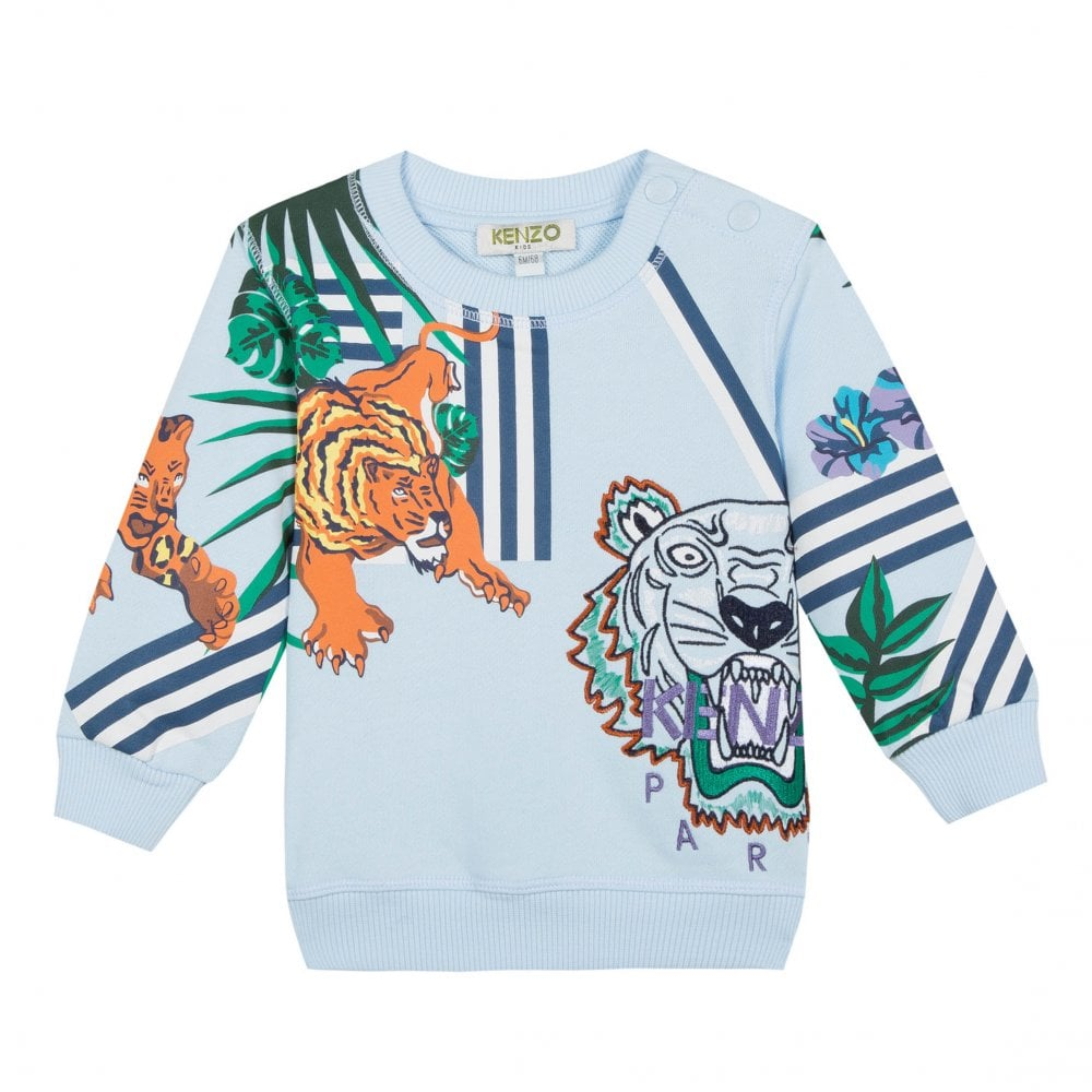 afb12df1 Kenzo Kids Infants Folco Hawaii Jungle Tiger Hunt Sweatshirt (Light Blue)