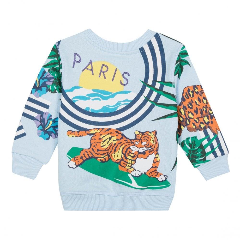 c86055acd0e3 Kenzo Kids Infants Folco Hawaii Jungle Tiger Hunt Sweatshirt (Light Blue)