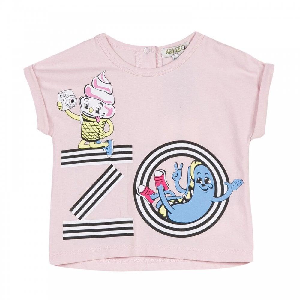 6efa433c Kenzo Kids Infants Girls Duffy Ice Cream Print T-Shirt 3m-4y (Pink ...