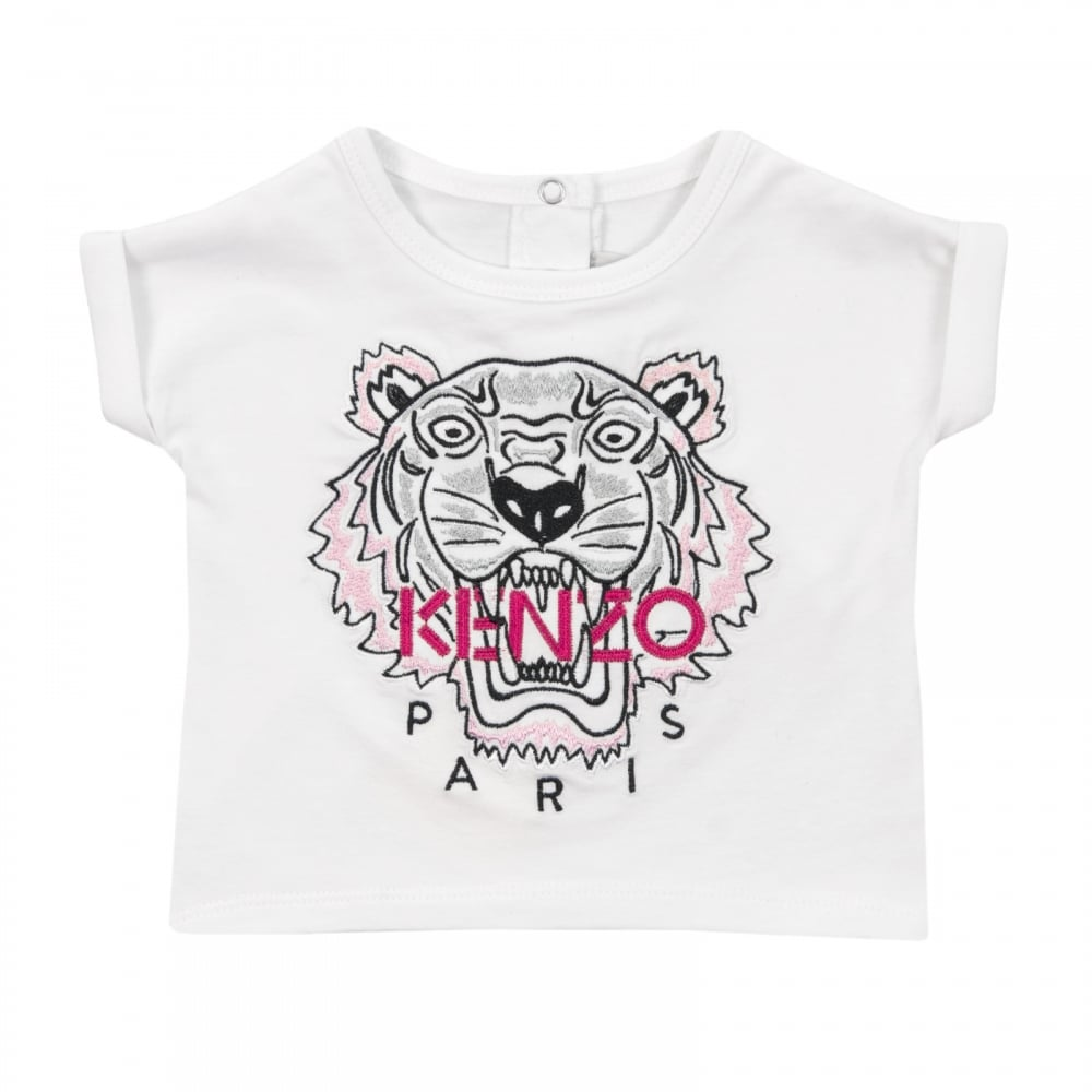 0b882beb622ed Kenzo Kids Infants Girls Embroidered Tiger Face T-Shirt 3m-18m (White)