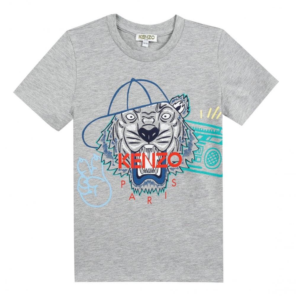 0e26f7668 Kenzo Kids Junior JB 3 Tiger & Cap Print T-Shirt (Grey) - Kids from ...