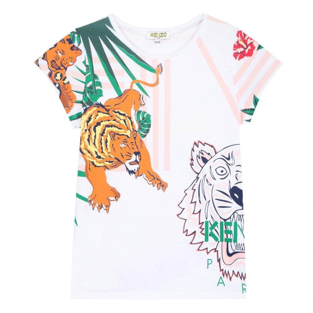 a1e50f9225 Kenzo Kids Junior JG Faustine Hawaii Jungle Tiger Hunt T-Shirt (White)