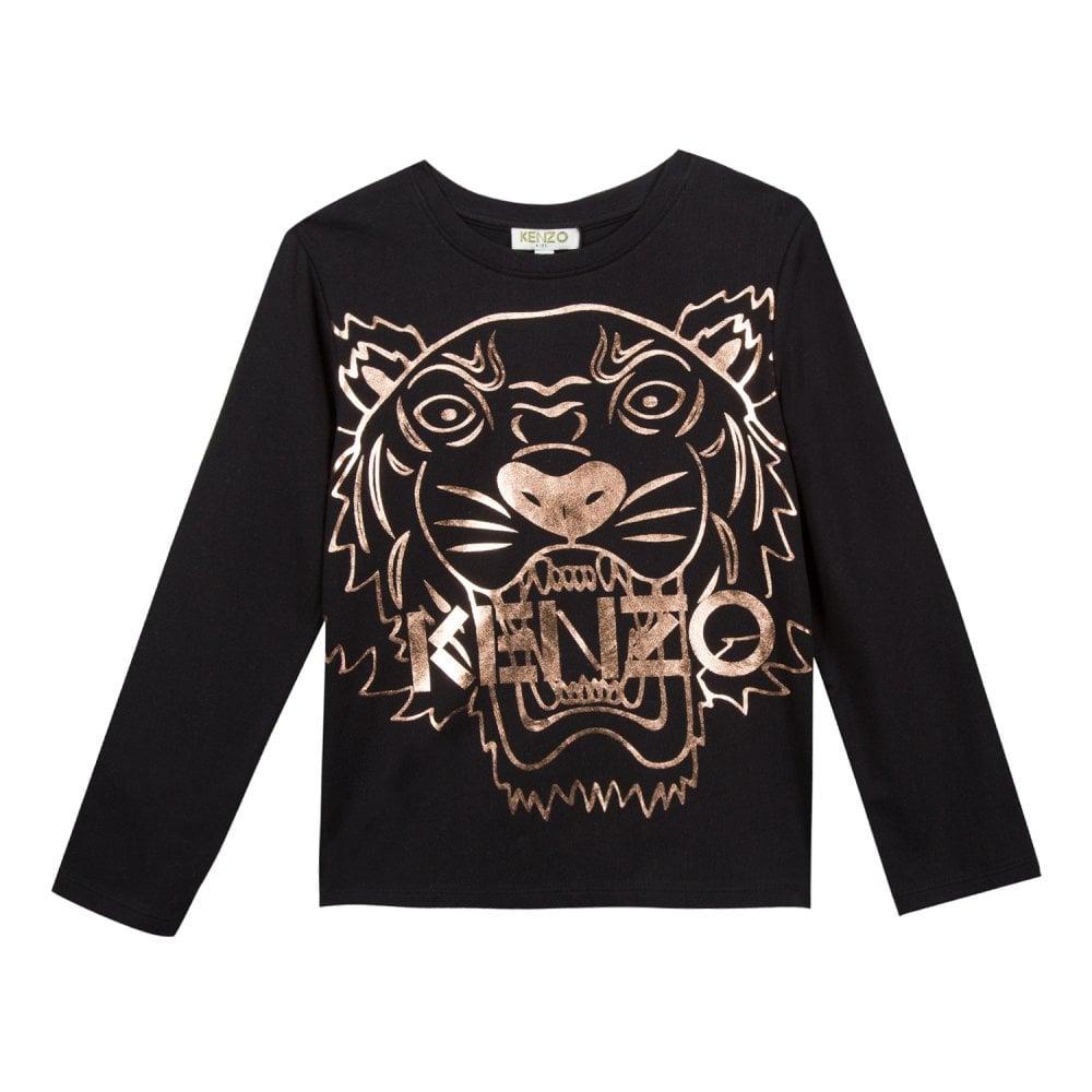 69b304fa Kenzo Kids Juniors Copper Foil Tiger Face 2 T-Shirt (Black) - Kids ...