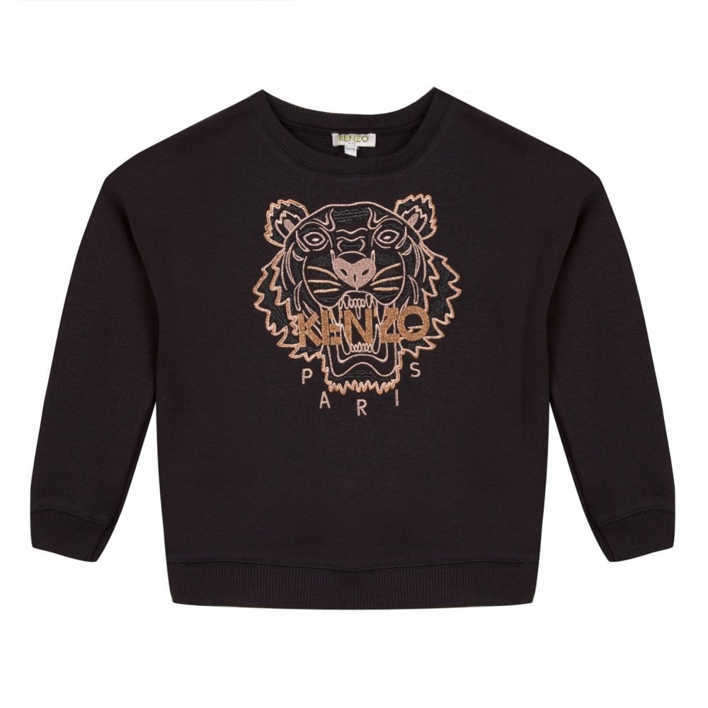 2eaa8e44 Kenzo Kids Juniors Embroidered Gold Tiger Sweatshirt (Black) - Kids ...