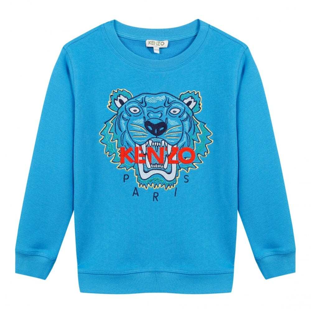 6aa0e045182ac Kenzo Kids Juniors Embroidered Tiger Face JB 6 Sweatshirt (Blue ...