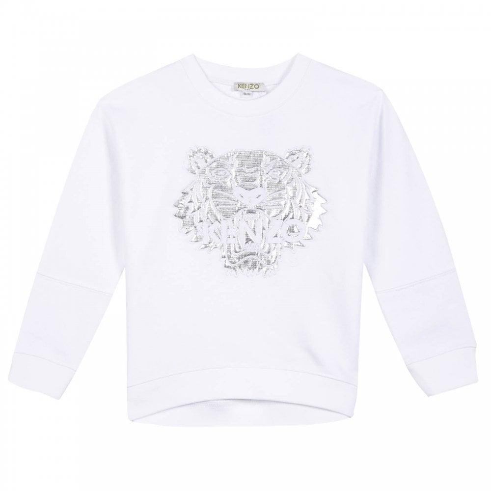 d89d1204 Juniors Embroidered Tiger JG 6 Sweatshirt (White)
